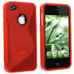 Frost Clear Red S Shape TPU Case for Apple iPhone 4
