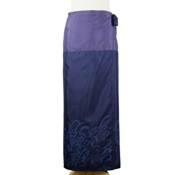 Silk and Cotton 'Blue Rice Field' Sarong (Thailand)
