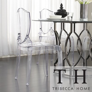 TRIBECCA HOME Canali Crystal Clear Sleek Modern Accent Chair (Set of 2)