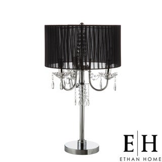 ETHAN HOME Noble 3-light Chrome Crystal Silk Shade Table Lamp