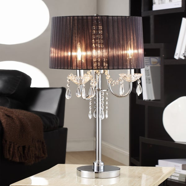 TRIBECCA HOME Noble 3-light Chrome Crystal Silk Shade Table Lamp