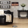 ETHAN HOME Noble 3-light Chrome Crystal Silk Shade Floor Lamp