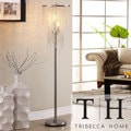 TRIBECCA HOME Crystal Rain 3-light Chrome Crystal Floor Lamp