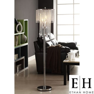 ETHAN HOME Crystal Rain 3-light Chrome Crystal Floor Lamp