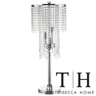 Tribecca Home Crystal Rain 3-light Chrome Crystal Table Lamp