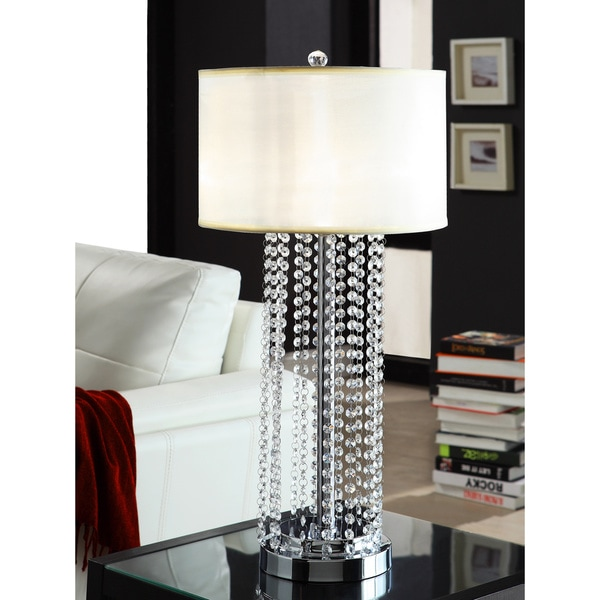 TRIBECCA HOME Saxton 1-light Crystal Chrome Table Lamp