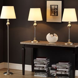Ingot 3-piece Brushed Steel Lamp Set