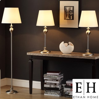 ETHAN HOME Ingot 3-piece Brushed Steel Lamp Set