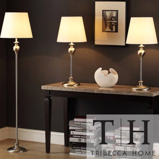 Tribecca Home Ingot 3-piece Brushed Steel Lamp Set