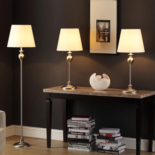 TRIBECCA HOME Ingot 3-piece Brushed Steel Lamp Set