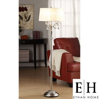 ETHAN HOME Silver Mist 1-light Crystal Chrome Floor Lamp