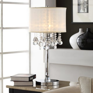 TRIBECCA HOME Silver Mist 3-light Crystal Chrome Table Lamp