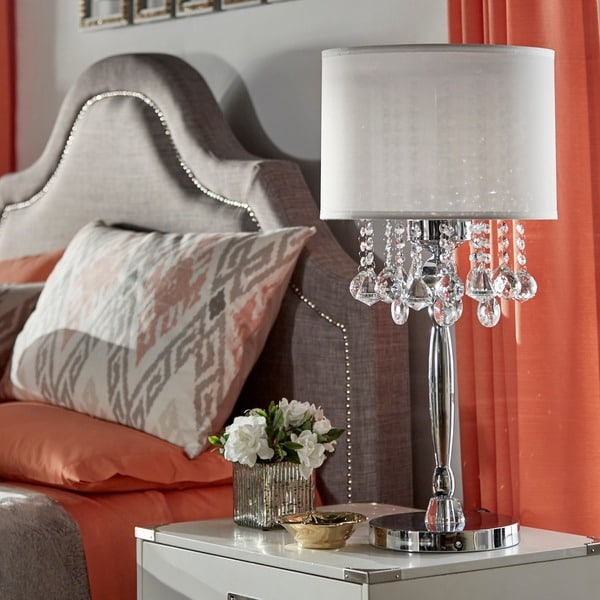 INSPIRE Q Silver Mist 3-light Crystal Chrome Table Lamp