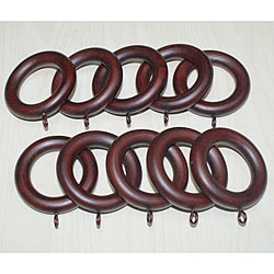 Adeline Smooth Mahogany Wood Curtain Rings (Set of 10)
