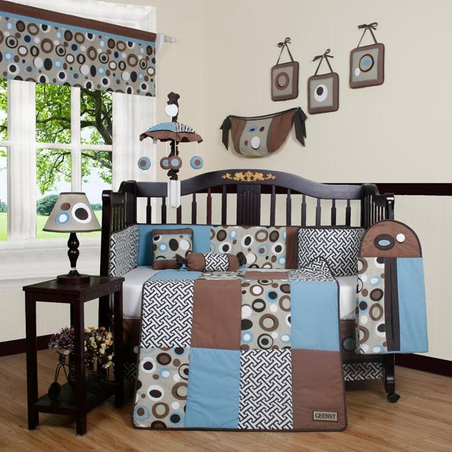 Geenny Blue Brown Scribbles 13-piece Crib Bedding Set