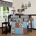 Blue Brown Scribbles 13-piece Crib Bedding Set