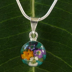 Sterling Silver Bouquet of Flower Round Turquoise Necklace (Mexico)