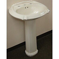 Ceramic 22-inch Biscuit Pedestal Sink
