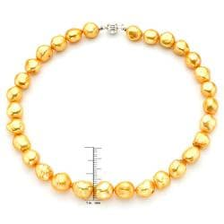 Pearlyta Sterling Silver Gold Baroque Pearl Necklace (13-14 mm)