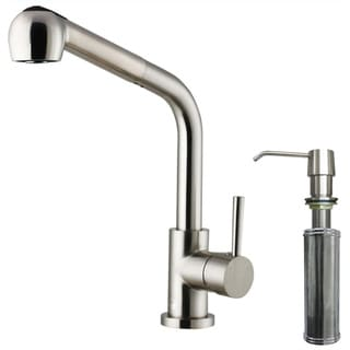 Modern VIGO Stainless-Steel Pull-Out Spray Kitchen Faucet with Soap Dispenser