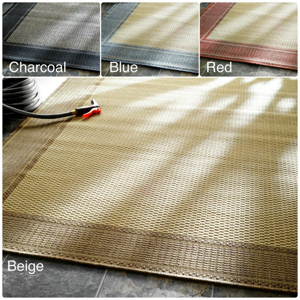 nuLOOM Solid Border Outdoor/ Indoor Rug (7'10 x 10'10)