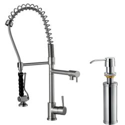VIGO Stainless-Steel Pull-Down Spray Single-Handle Kitchen Faucet with Soap Dispenser