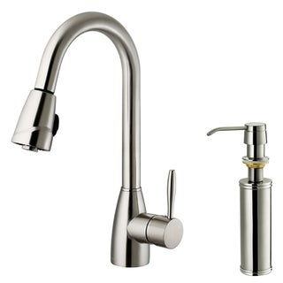 Single-Hole VIGO Stainless-Steel Pull-Out Spray Kitchen Faucet with Soap Dispenser