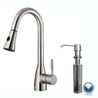 Contemporary VIGO Stainless-Steel Pull-Out Spray Kitchen Faucet with Soap Dispenser