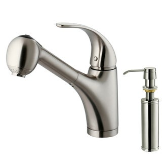 VIGO Stainless-Steel Pull-Out Spray Kitchen Faucet with Soap Dispenser and Lever Handle