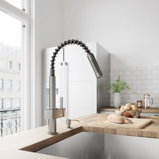 VIGO Stainless Steel Pull-Out Kitchen Faucet with Soap Dispenser