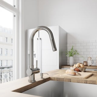 VIGO Gramercy Stainless Steel Kitchen Faucet with Soap Dispenser
