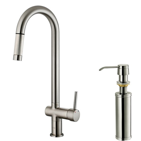 ... VIGO Stainless-Steel Pull-Out Spray Kitchen Faucet with Soap Dispenser