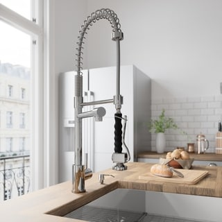 VIGO Zurich Chrome Pull-Down Spray Kitchen Faucet with Soap Dispenser