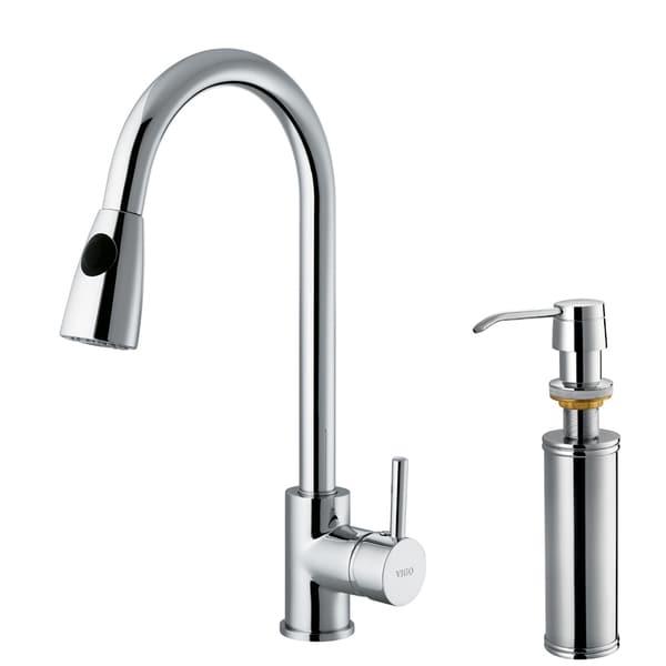 VIGO Chrome Pullout Spray Counter-Mount Kitchen Faucet with Soap Dispenser
