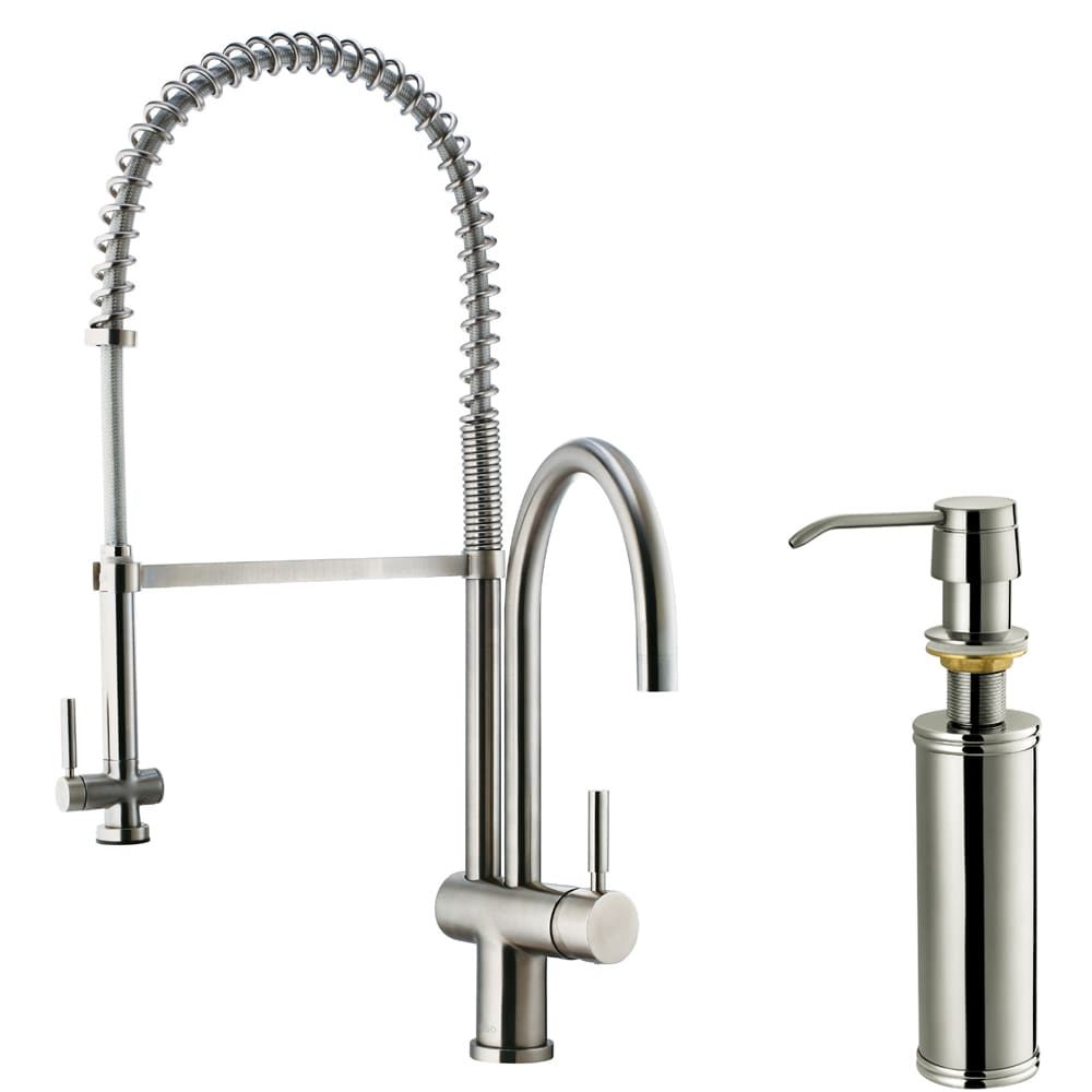 Faucet Kitchen : ... Steel Pull-Down Spray Single-Handle Kitchen Faucet with Soap Dispenser