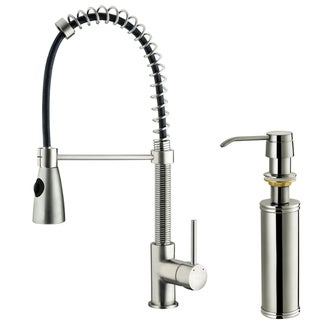 VIGO Stainless-Steel Pull-Out Spray Centerset Kitchen Faucet with Soap Dispenser