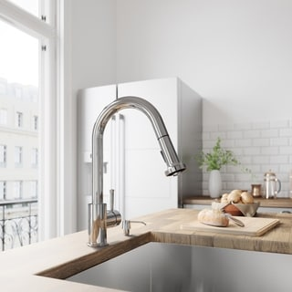 VIGO Chrome Pull-Out Spray Kitchen Faucet with Soap Dispenser