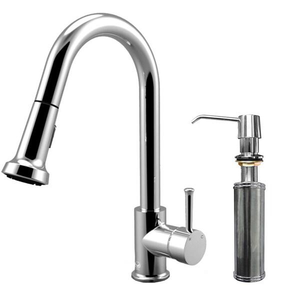 VIGO Chrome Pull-Out Spray Kitchen Faucet with Soap Dispenser