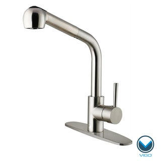 VIGO Corrosion-Resistant Stainless-Steel Pull-Out Spray Kitchen Faucet with Deck Plate