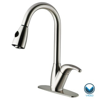 VIGO Tarnish-Resistant Stainless-Steel Pull-Out Spray Kitchen Faucet with Deck Plate
