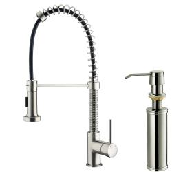 VIGO Tarnish-Resistant Stainless-Steel Pull-Out Spray Kitchen Faucet with Soap Dispenser