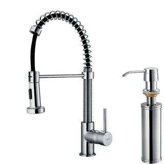 VIGO Chrome Pullout Spray Single-Handle Kitchen Faucet with Soap Dispenser