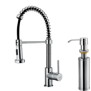 VIGO Chrome Pullout Spray Single-Handle Kitchen Faucet with Soap Dispenser