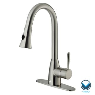 vigo stainless steel pull out spray kitchen faucet with deck plate see