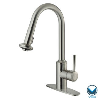 VIGO Stainless-Steel Pull-Out Spray Kitchen Faucet with Deck Plate (ADA Compliant)