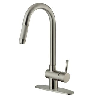 VIGO Stainless Steel Pull-Out Kitchen Faucet with Deck Plate Model VG02008STK1