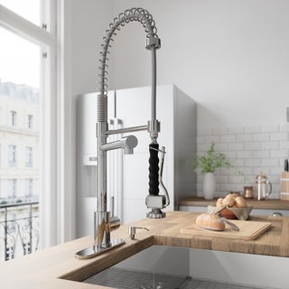 VIGO Chrome Pull-Down Spray Single-Handle Kitchen Faucet with Deck Plate