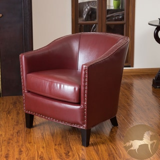 Christopher Knight Home Austin Oxblood Red Leather Club Chair