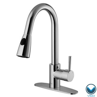 VIGO Single-Handle Chrome Pullout-Spray Kitchen Faucet with Deck Plate
