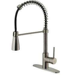 Stylish VIGO Stainless-Steel Pull-Out Spray Kitchen Faucet with Deck Plate